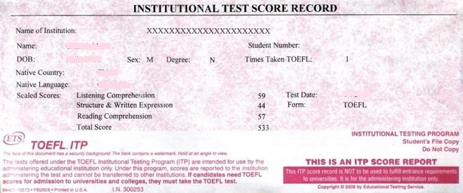 Toefl Test Score 1 1